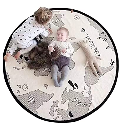 Ins Baby Padded Play Game Mats Cotton Crawling Mat For Babies Girls Blanket Round Floor Carpet For Kids Interior Room Decoration Power Source