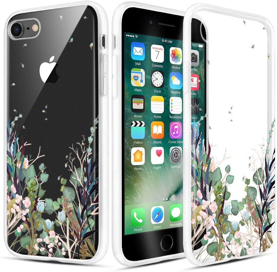Caka iPhone SE 2020 Case Clear Design, iPhone 7 Case iPhone 8 Case Clear with Design Floral Clear Flowers Pattern for Girls Women Girly Slim Thin Fit TPU Cover Case for iPhone SE 2020 7 8 4.7""