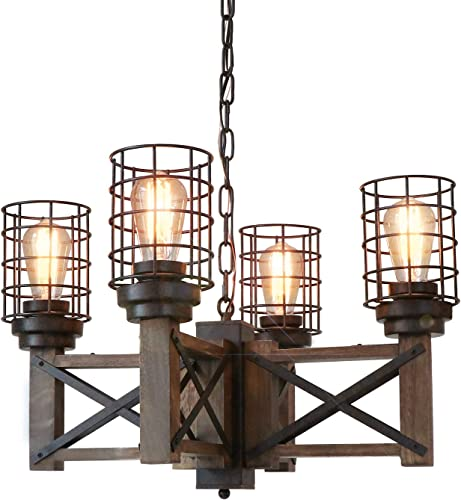 Eumyviv Wood Farmhouse Cage Rustic Chandelier Kitchen Island 4 Lights