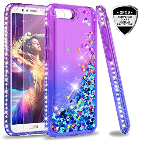 sale retailer b9705 c500d LeYi Case for Huawei Y6 2018 with Tempered Glass Screen Protector [2  pack],Girl 3D Glitter Liquid Cute Personalised Clear Silicone Gel  Shockproof ...