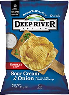 product image for Deep River Snacks Krinkle Cut Chips, Sour Cream and Onion, 5 Ounce (Pack of 12)