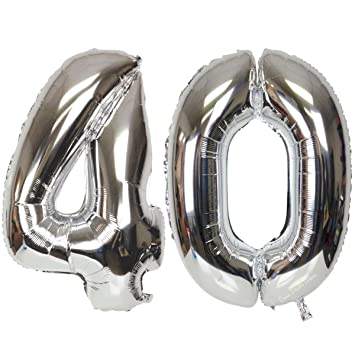 Ouinne Globo 40 Años, Globo del Cumpleaños Número 40 Helio Globos para La Decoración Boda Aniversario, 40 Pulgadas (Plata)