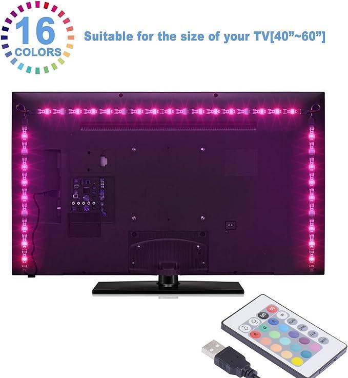 Sunnest Led TV Tira Led RGB 5050 2Metros Led Para TV Impermeable ...
