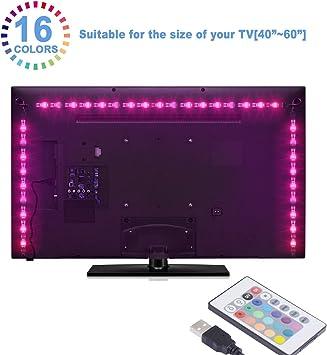 Sunnest Led TV Tira Led RGB 5050 2Metros Led Para TV Impermeable Energía USB Para Computadora Monitor TV Pantalla Regalo Navidad: Amazon.es: Electrónica
