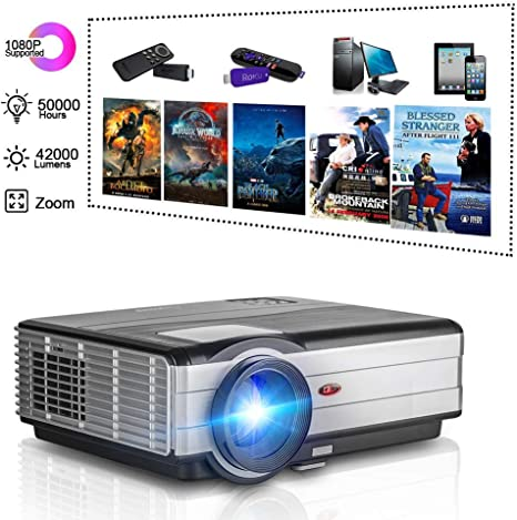 4200 Lumen HD LED LCD Home Theater Projector HDMI 1080P Multimedia Video Projector Proyector, HDMI USB RCA Audio VGA AV Home Outdoor Entertainment ...