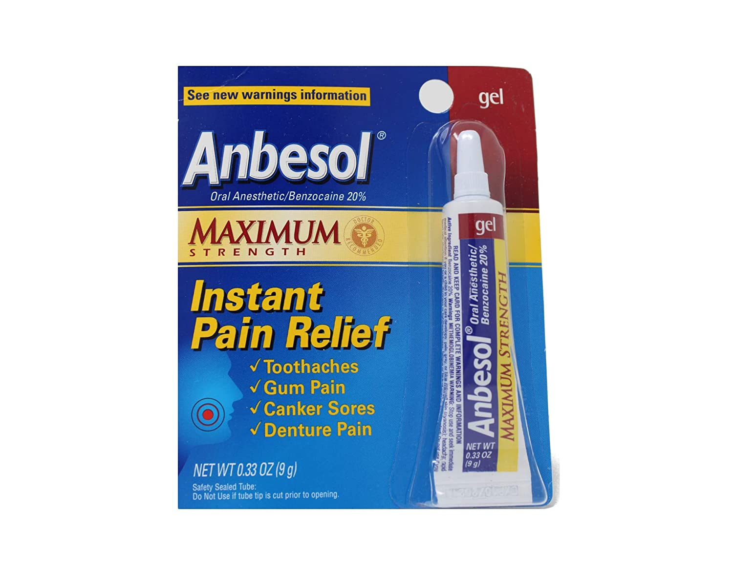 Anbesol Gel Maximum Strength 0.33 oz ( 5 pack) : Oral Pain Relief Medications : Beauty