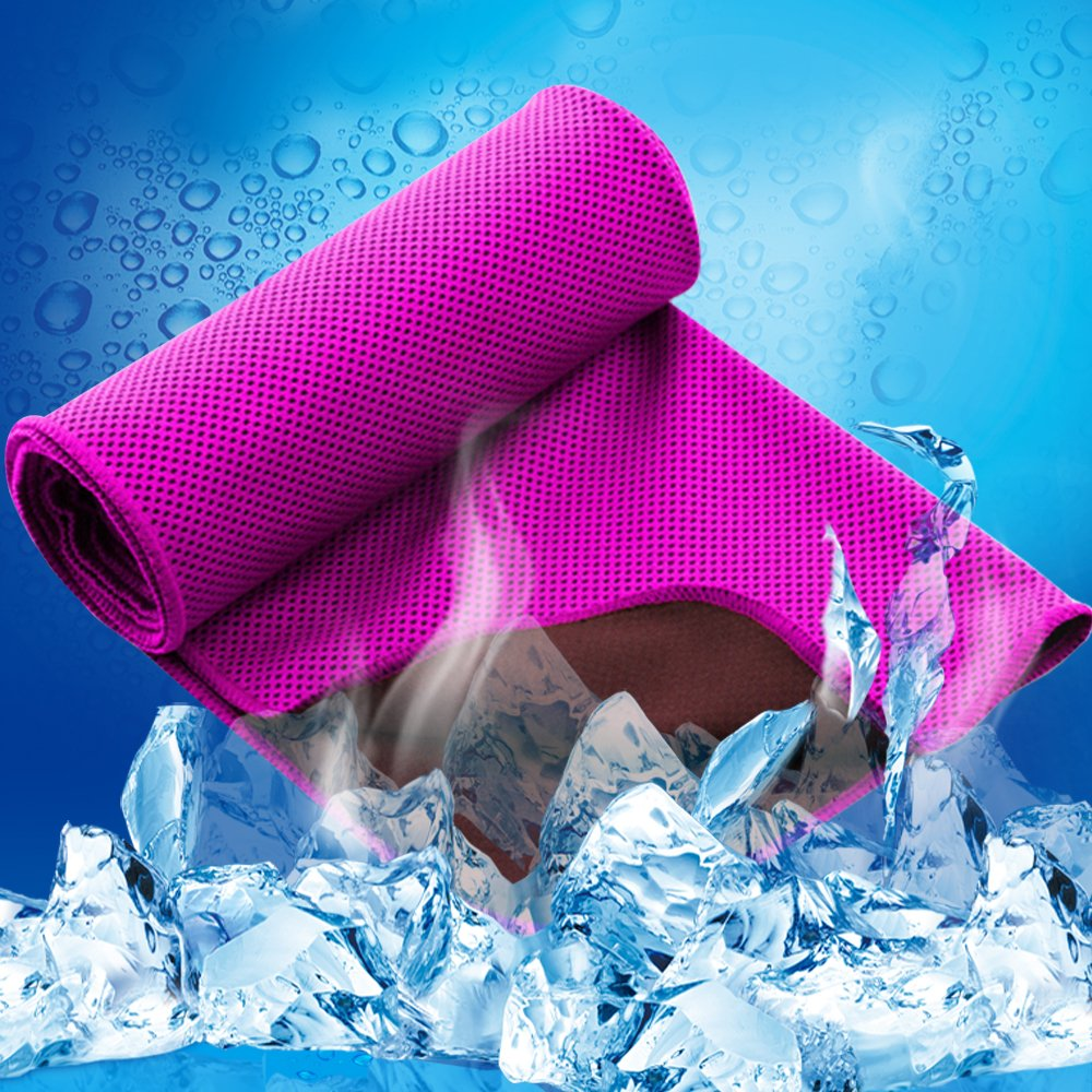 LESVIEO Evaporative Cooling Towels, Instantly Cold Soft Ice Towels for Sports, Fitness, Yoga, Pilates, Travel, Camping, Rose