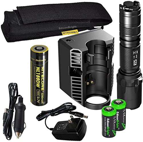 EdisonBright Nitecore R25 800 Lumen CREE LED 321m Beam Rechargeable Flashlight, Smart Charging Dock, Nitecore Rechargeable 18650 D Battery, Holster with 2 X CR123A Lithium Batteries Bundle