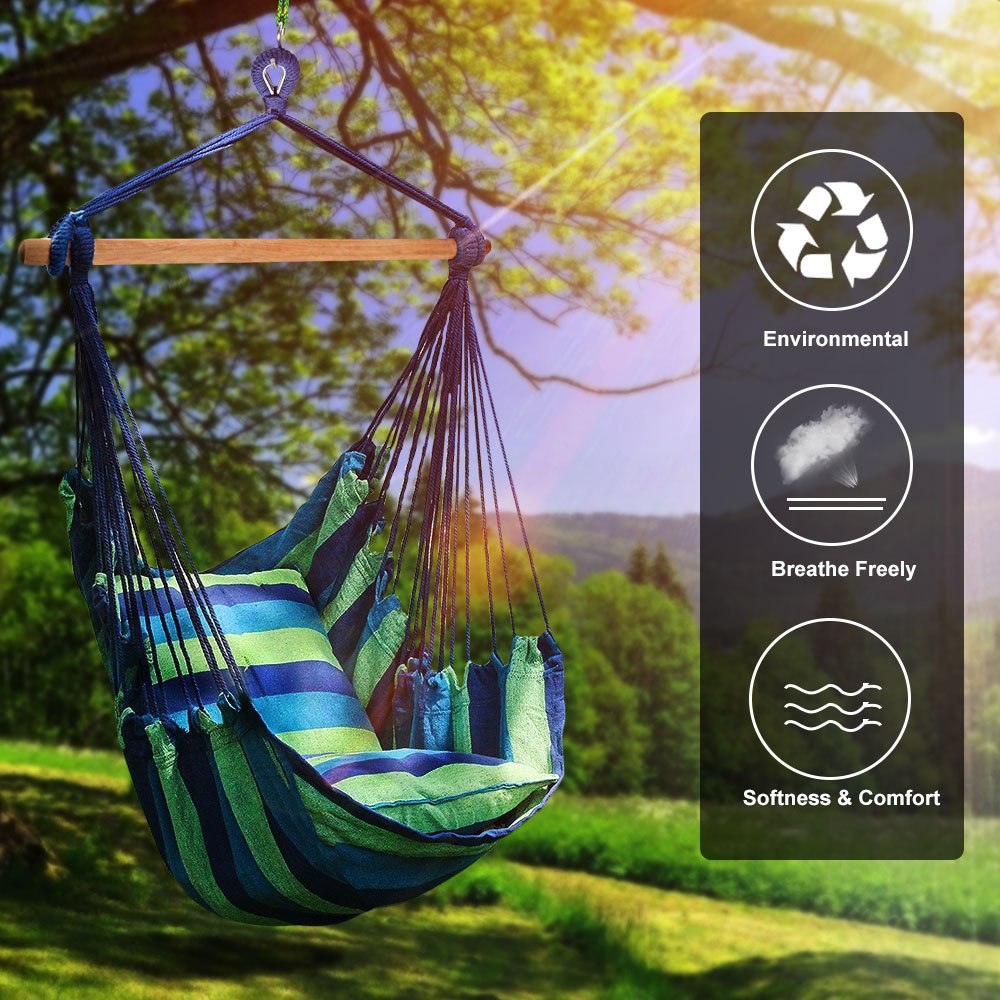 Number-One Hanging Hammock Chair Swing, Hanging Rope Swing Chair Porch Swing Seat with 2 Seat Cushions for Indoor and Outdoor Use, Max Weight 265 Pounds