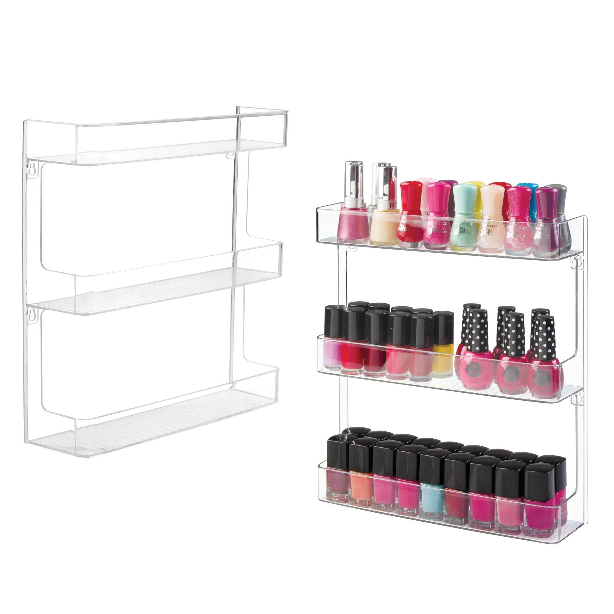 mDesign Wall Mount Plastic Nail Polish & Makeup Organizer Storage Shelf and Display Rack - Clean, Modern, Versatile, 3-Tier, Space Saving Design, Large Capacity - 3 Shelves - Pack of 2, Clear