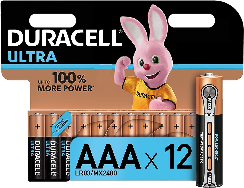Duracell Ultra AAA con Powerchek, Pilas Alcalinas, paquete de 12, 1.5 Voltios, LR03 MN2400