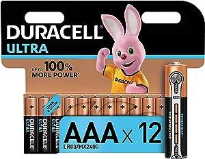 Duracell Ultra, lot de 12 piles alcalines Type AAA 1,5 Volts LR03 MN2400