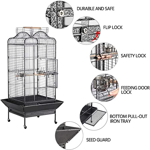 Topeakmart Extra Large Parrot Bird Cage Mini Macaw Cockatoo Cockatiels African Grey Bird Cage with Open Play Top