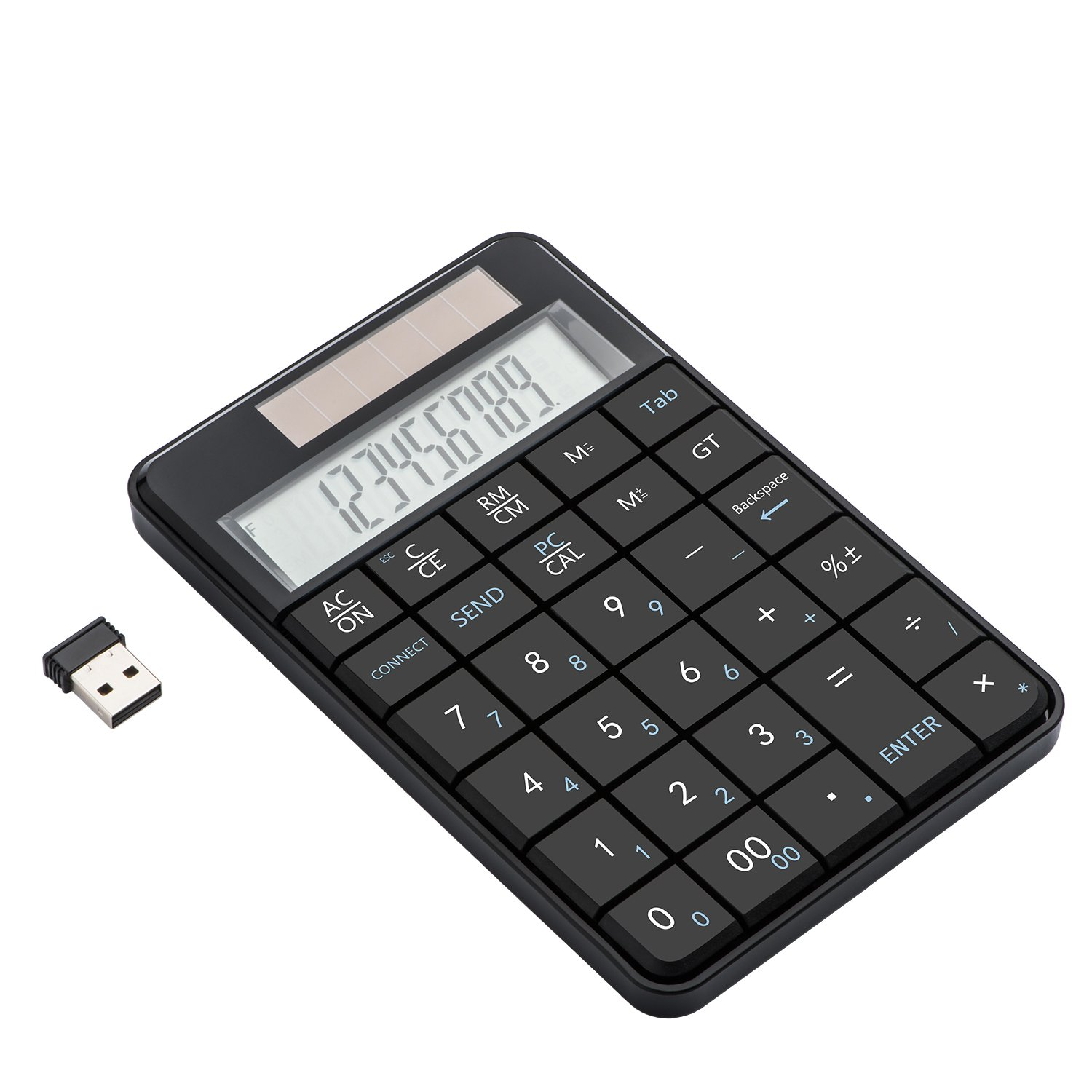 I Focus 2 in 1 Wireless Numeric Keypad with Calculator Function, USB Financial Accounting Numpad Solar Power 29 Keys Number Pad for Laptop Desktop PC Windows XP