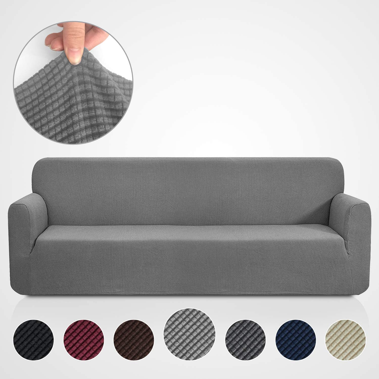 Rose Home Fashion RHF Jacquard-Stretch Sofa Cover, Slipcover for Leather Couch-Polyester Spandex Sofa Slipcover&Couch Cover for Dogs, 1-Piece Sofa Protector(Extra-Wide Sofa: Gray)
