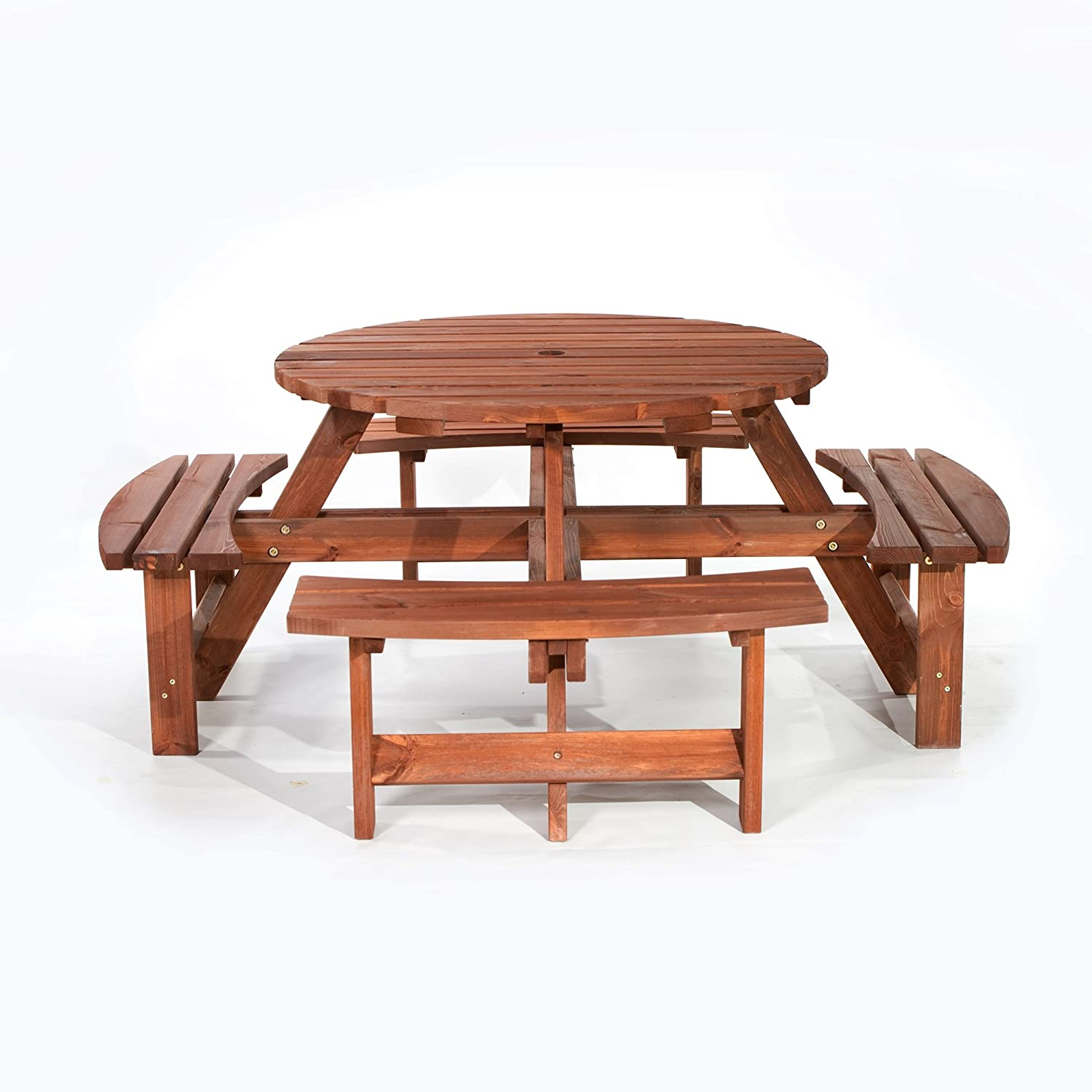 BrackenStyle Brown Picnic Pub Bench 8 Seater Round Wooden Garden Patio Table Thick Timbers Dip Treated