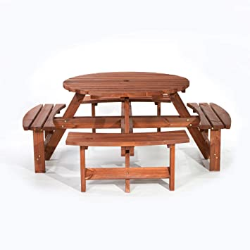 BrackenStyle Brown Picnic Pub Bench Seater Round Wooden Garden - 8 seater round picnic table