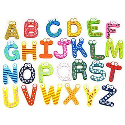 Kitchen & Dining, iuuhome 26 Alphabet Fridge Magnets Baby toys 26pcs Letters Kids Wooden Alphabet Fridge Magnet Child Educational: Beauty