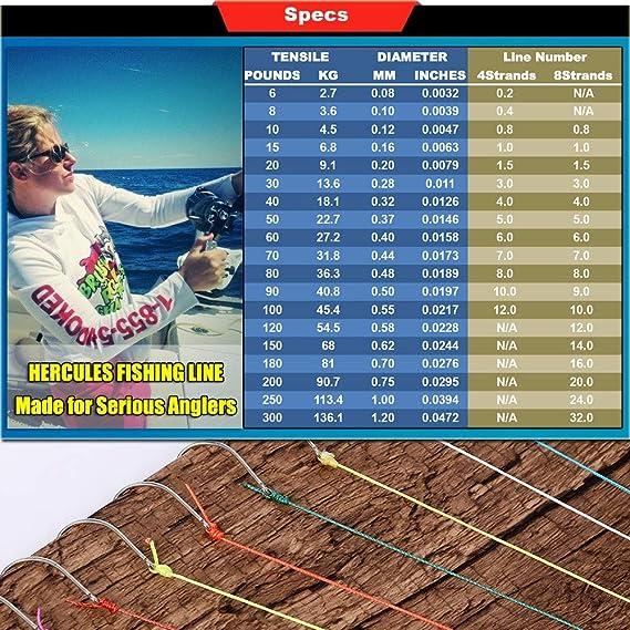 2000m Yards Geflochtene Angelschnur 10lb Hercules Super Cast 100m 300lb Test f/ür Salzwasser S/ü/ßwasser PE Geflecht Fischdraht Superline 8 Str/änge