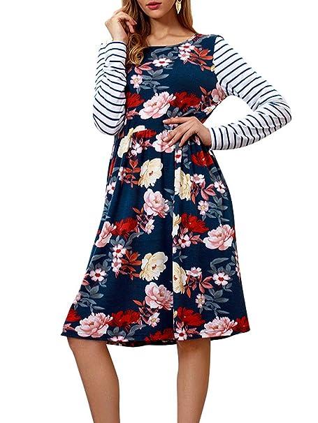8badea12cd Womens T Shirt Dress Stripe Long Sleeve Floral Swing A Line Dresses with  Pockets Navy Blue