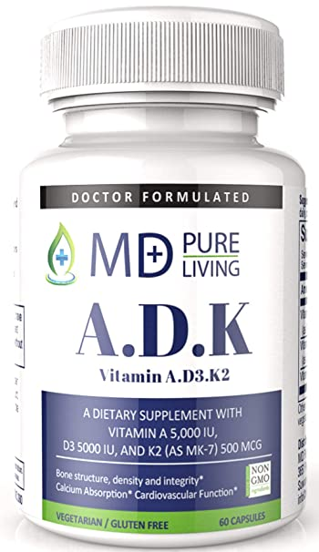 ADK Supplement - Dr. Formulated High Potency Vitamin ADK [A 5000iu, D3 5000iu