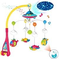 REMOKING Baby Toys Musical Mobile Crib,Moon and Stars Projection and Airplane Rattles for Toddlers,Remote Control…