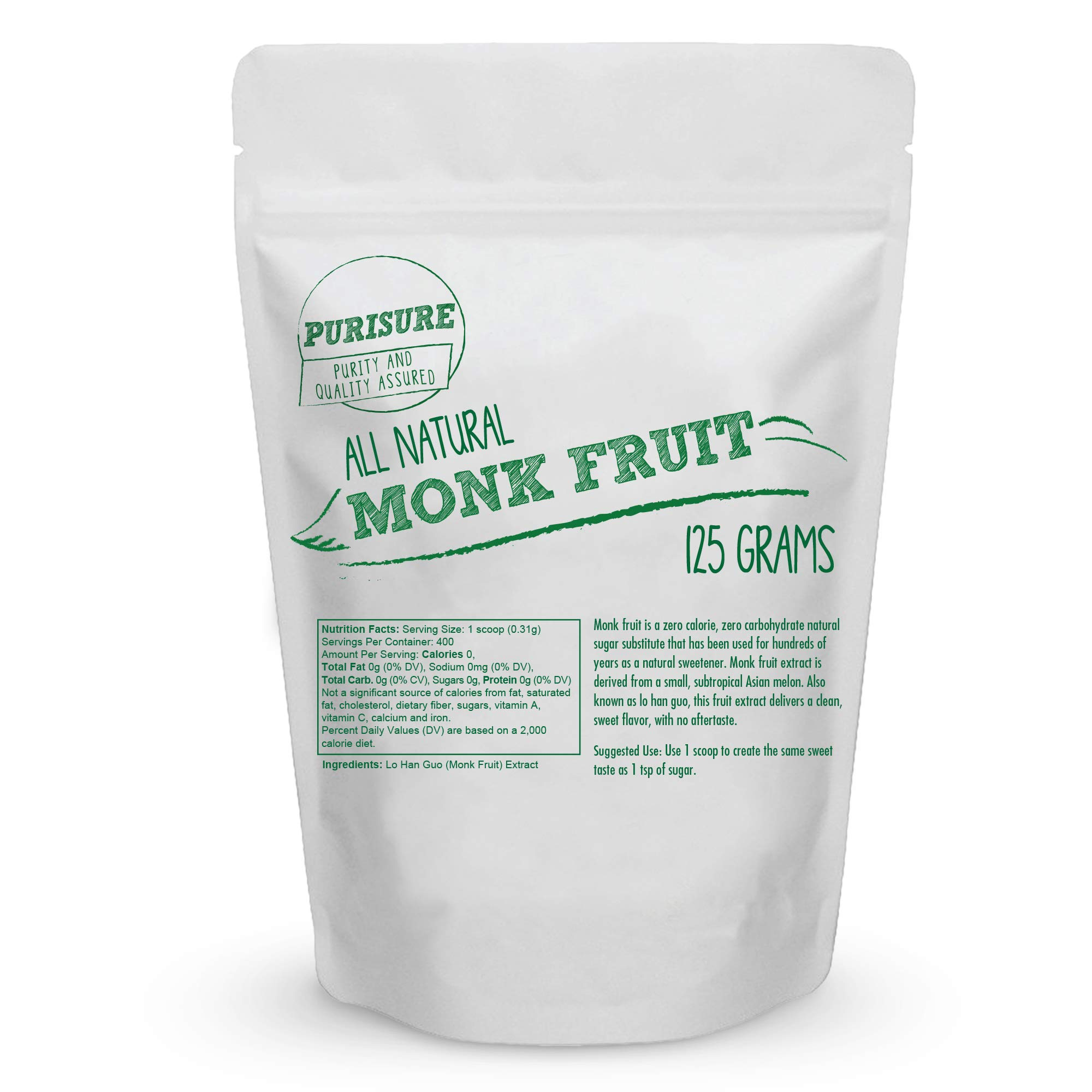 Purisure Monk Fruit Extract 125g (400 Servings) | Sugar-Free Natural Sweetener | Zero-Calorie Zero-Carb Sugar Substitute | No Artificial Sweeteners | Perfect for Low-Sugar, Low-Carb, Keto, Paleo Diets by Purisure (Image #5)