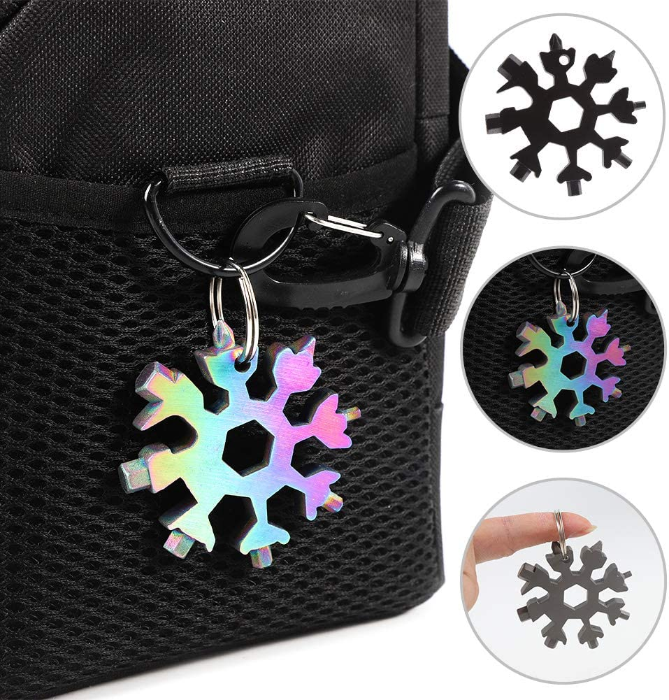 Multicolor rainday 18-in-1 Snowflake Multi Tool,Keychain//Bottle Opener//Phillips Screwdriver Kit//Wrench,Stainless Steel Portable Multi-Tool for Outdoor Travel Camping