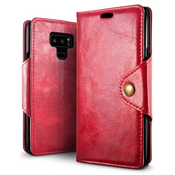 SLEO Case for Samsung Galaxy Note 9 Case, Magnetic Copper Buckle Design PU Leather Wallet Folio Flip Phone Cover with Kickstand Function and Card ...