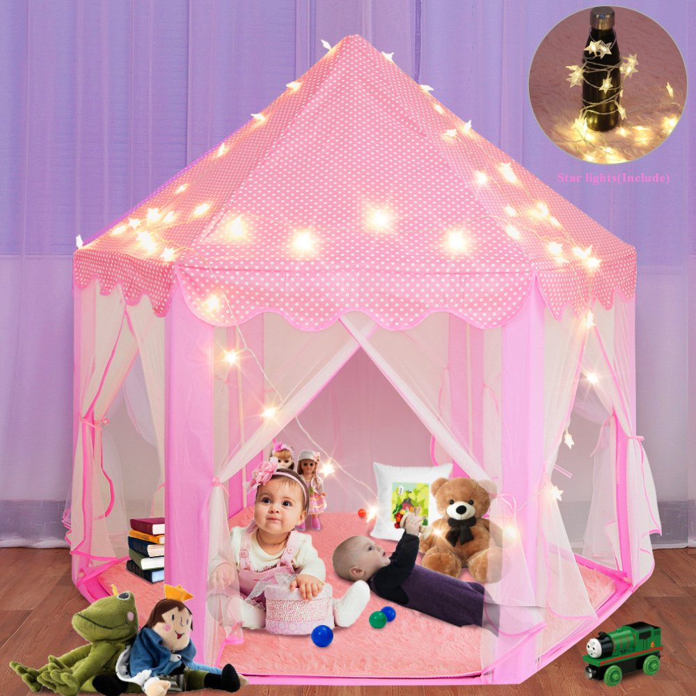 Sunba Youth Kids Play Tent, Super Fantasy Pink Princess Castle Playhouse Canopy Tent with LED Light for Children Indoor and Outdoor
