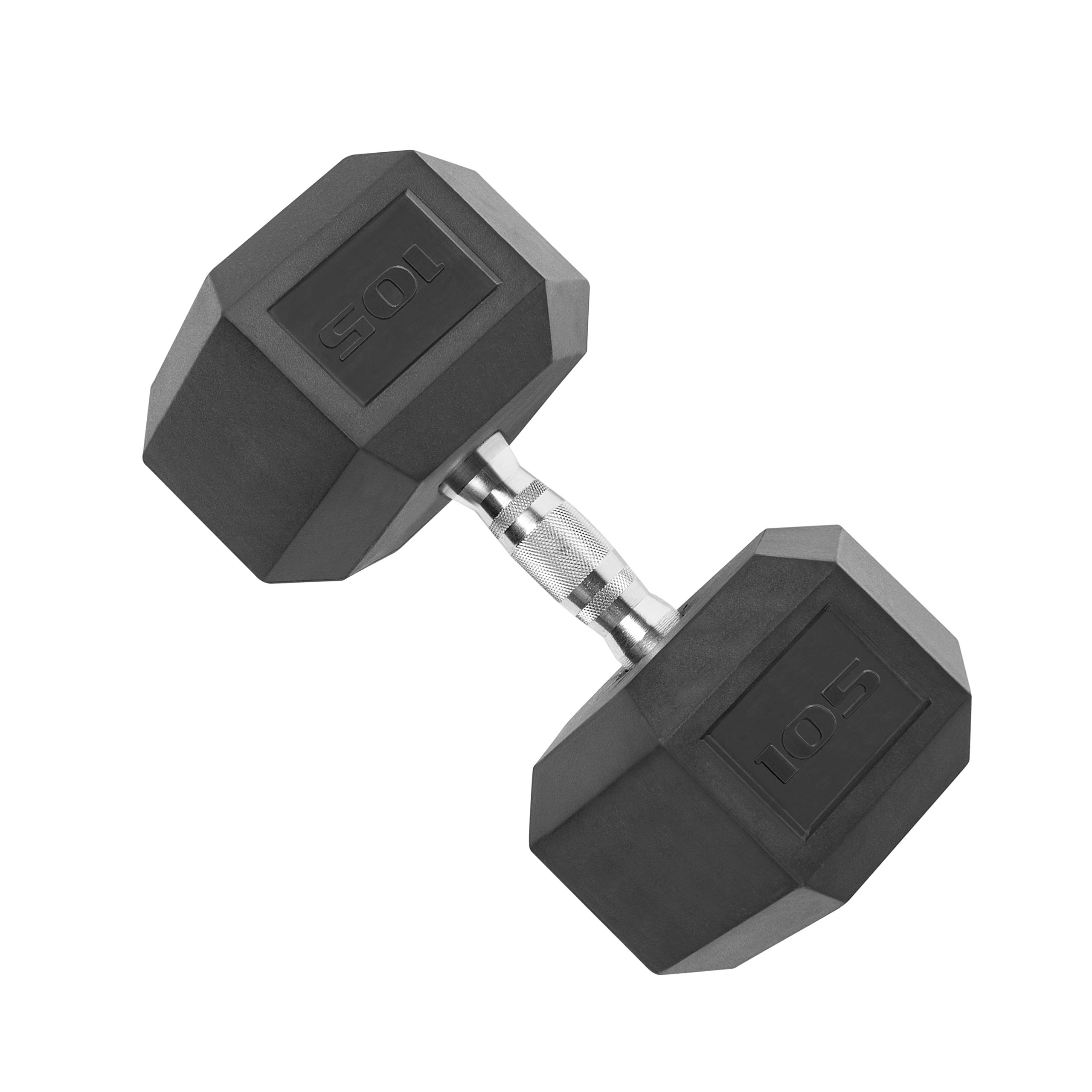 CAP Barbell SDR-105 Single Rubber Coated Hex Dumbbell with Contoured Chrome Handle, 105-Pound, Black