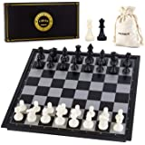 AMEROUS 10 Inches Magnetic Travel Chess Set with Folding Chess Board - 2 Extra Queens - Storage Bag for Pieces - Instructions