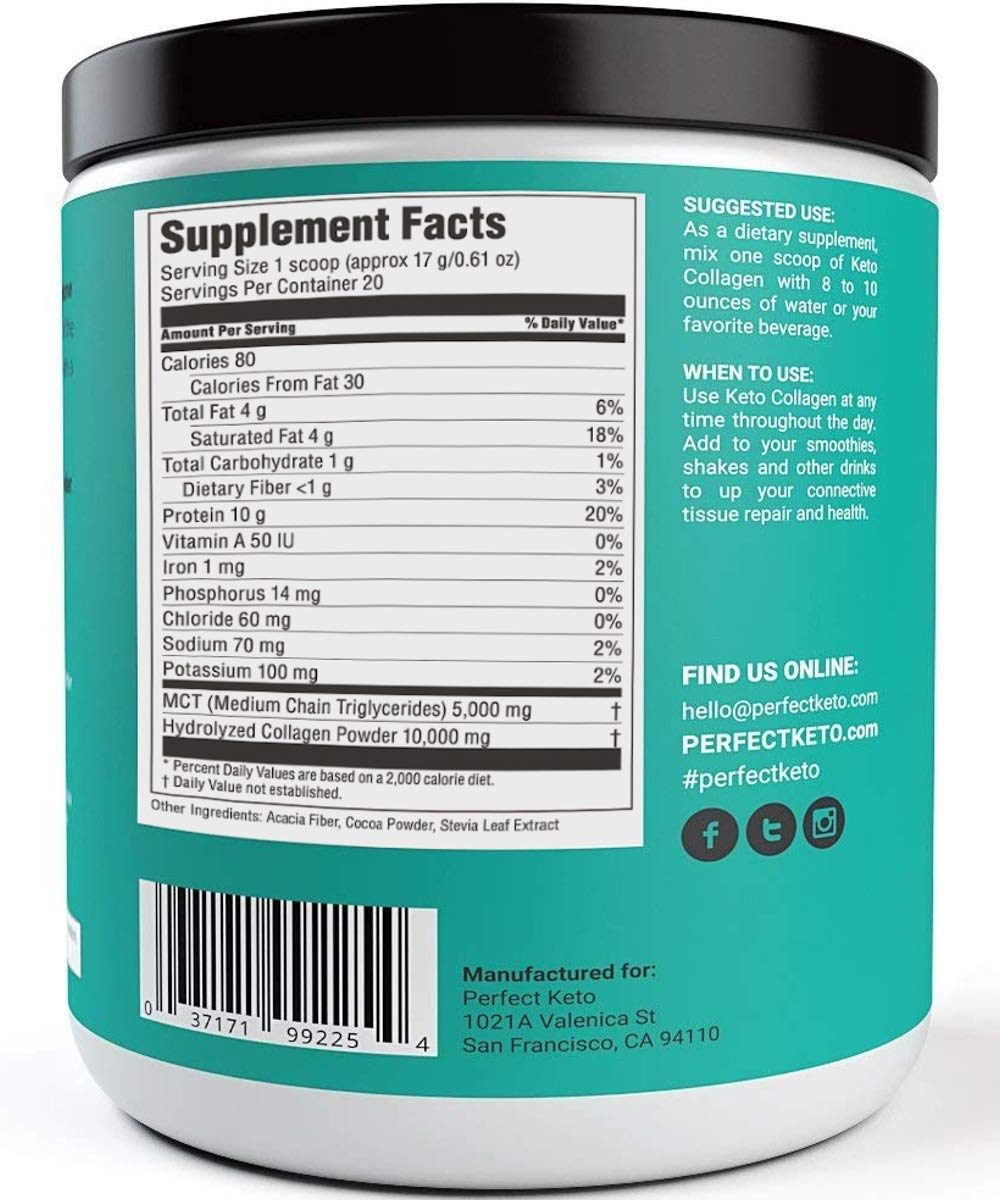 Perfect Keto Chocolate Protein Powder: Collagen Peptides Grassfed Low Carb  Keto Drink Supplement