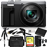 Panasonic Lumix DMC-TZ80 Digital Camera (Silver) 16GB Bundle 10PC Accessory Kit. Includes SanDisk 16GB Extreme SDHC Memory Card + Replacement BCM-13 Battery + AC/DC Rapid Home & Travel Charger + MORE