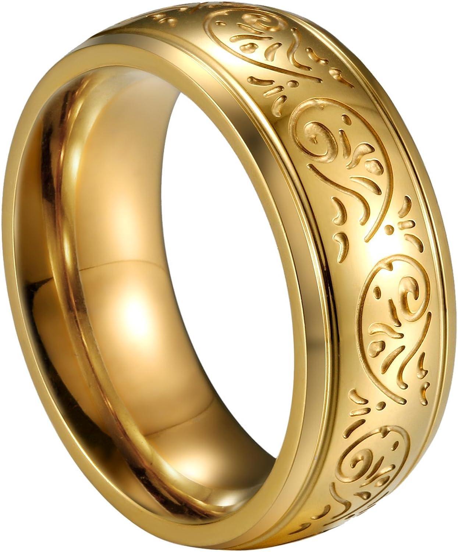 JewelryWe joyas 8 mm Acero Inoxidable Anillo Banda Oro Florentine ...
