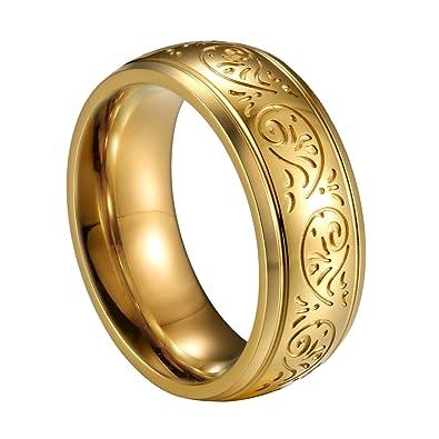 JewelryWe joyas 8 mm Acero Inoxidable Anillo Banda Oro Florentine grabado - Diseño Boda Compromiso Charm Hombre de Compromiso: Amazon.es: Joyería