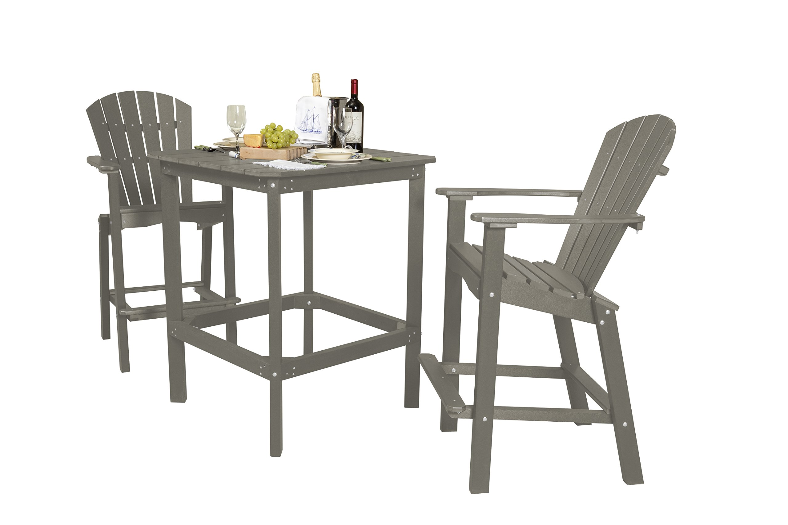Little Cottage Company Lcc-286 Classic High Dining Table with 2 Chairs, 42'', Light Gray by Little Cottage Company