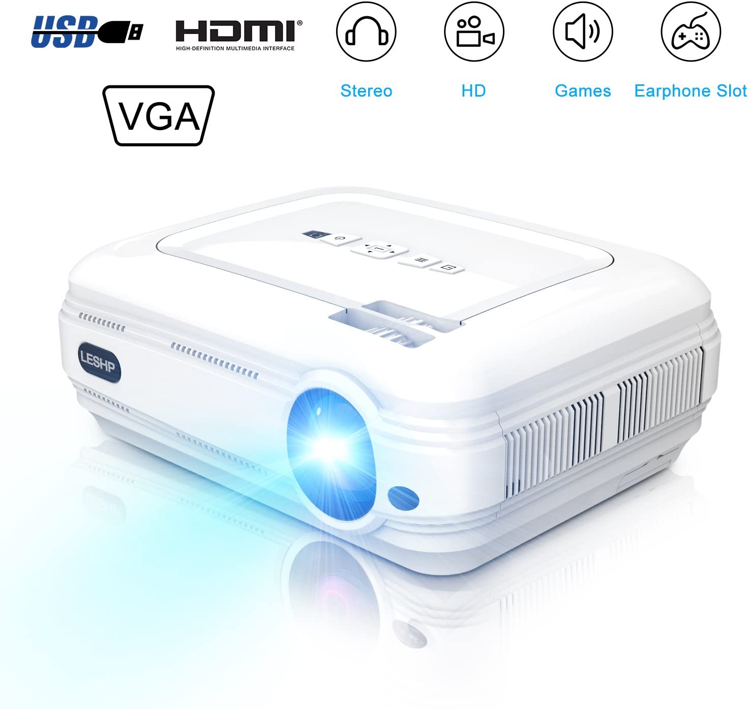 Mini 720P Projector,LCD LED Video Projector 3200 Lumens Support 1080P HDMI USB for Home Cinema TV Laptop Game iPhone Andriod Smartphone