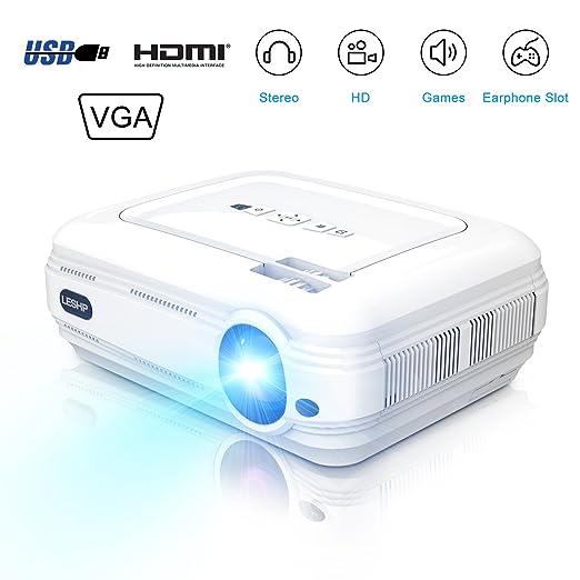 LESHP Proyector 3200 lúmenes LCD Mini Proyector portátil LED Proyector Cine en casa Theater película proyector de vídeo Soporte Multimedia HDMI USB ...