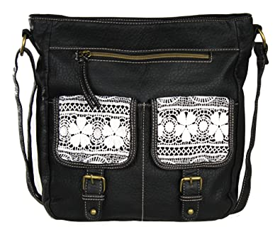 Black Large Vintage Lace Crossbody Messenger Bag Purse - Faux ...