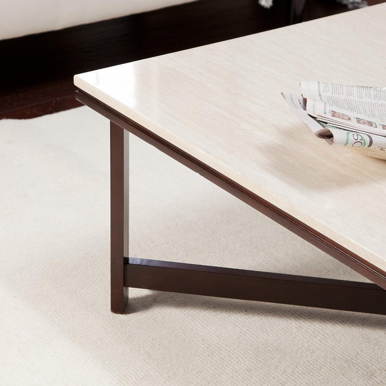 amazon com avorio faux travertine square coffee table kitchen