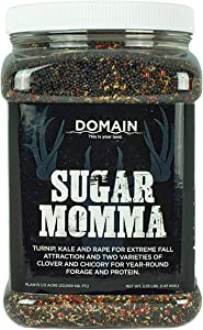 Domain Outdoor Sugar Momma Deer Food Plot Seed, 1/2 Acre, Annual and Perennial Food Sources for Summer, Fall and Winter Attraction, Year Round Food - Turnip, Rape, Kale, Clovers, Chicory