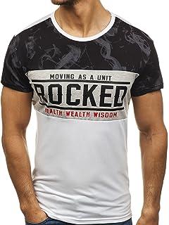 BOLF Hombre Camiseta de Manga Corta con Estampado Escote Redondo Deporte Estilo Deportivo Motivo 3C3 GDeeRQn