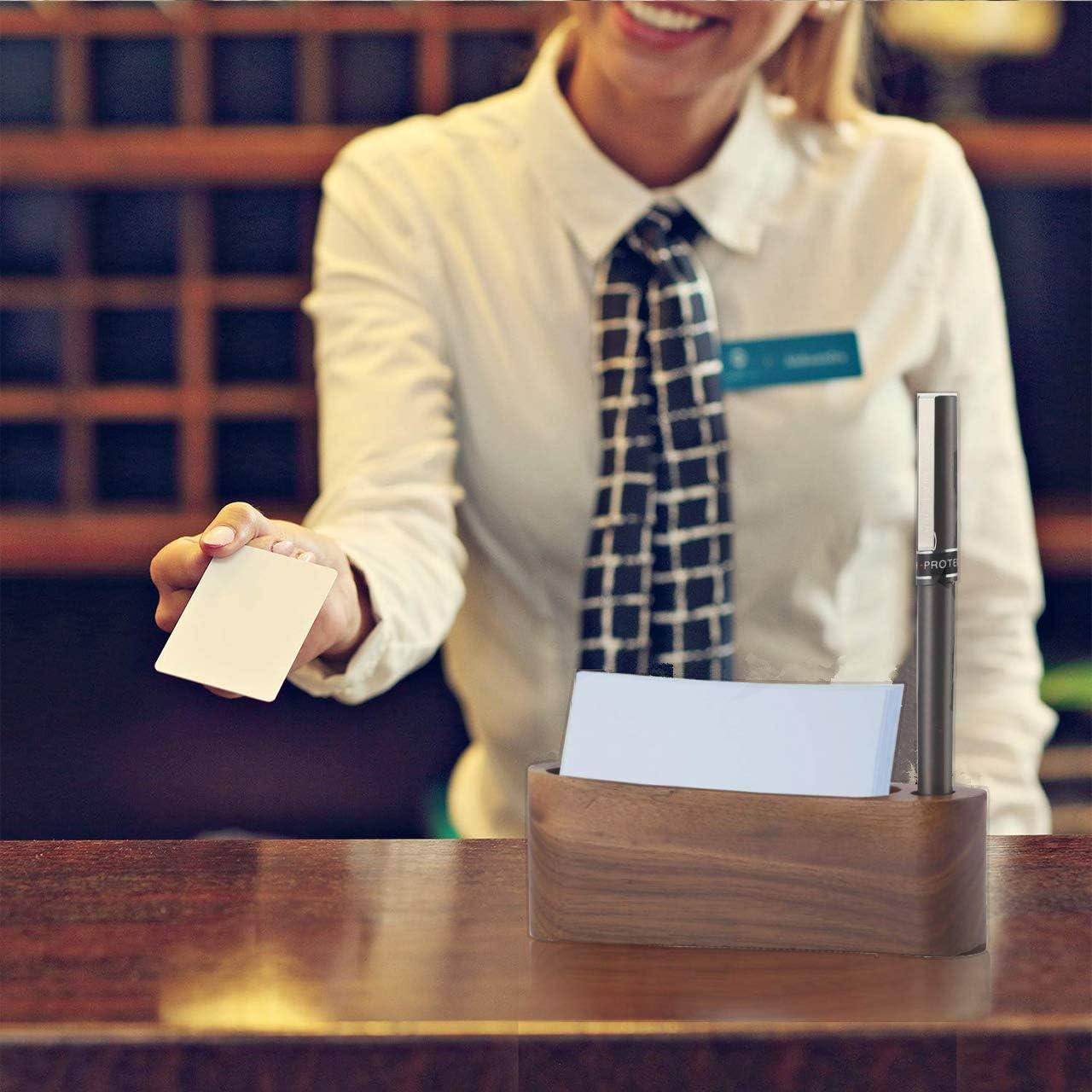 Visitenkarten und Gru/ßkarten Visitenkartenetui aus Holz,Aufbewahrungsbox f/ür Visitenkartenhalter,Visitenkarten Aufbewahrungsbox in Schwarzer Walnussfarbe,f/ür B/üroarbeit