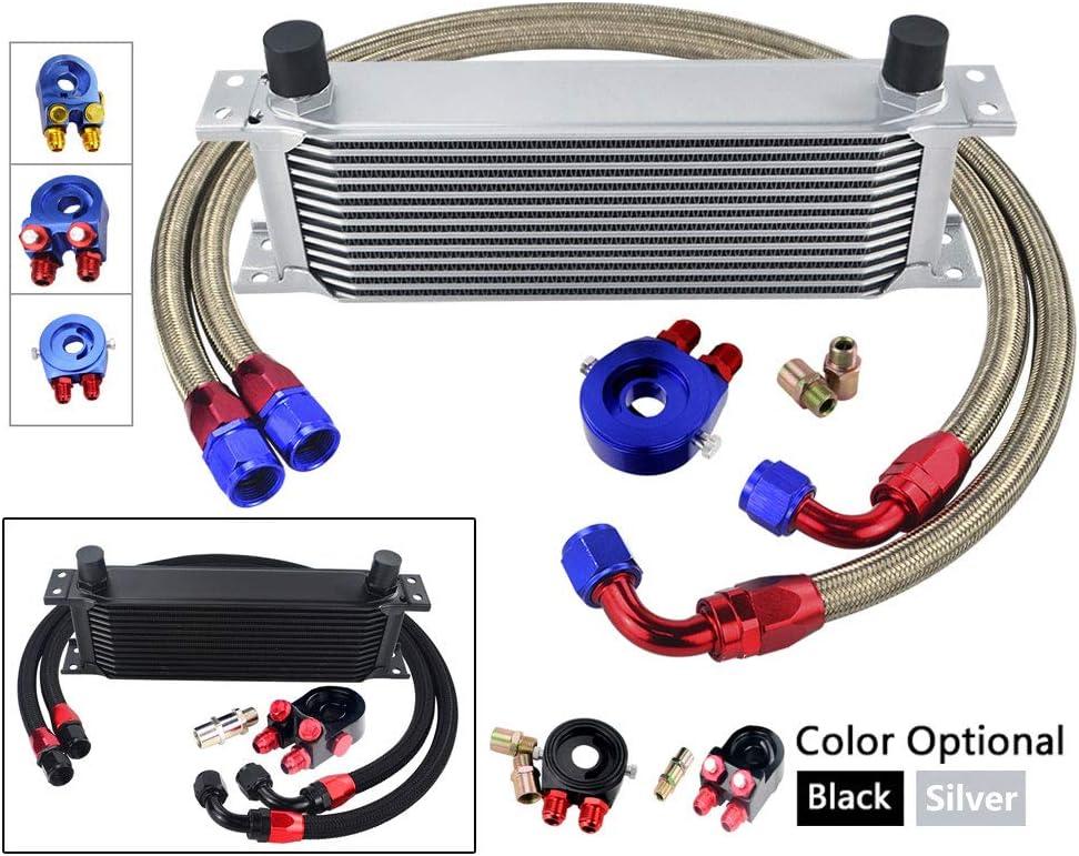 Oil Filter Sandwich Adapter Nylon Stainless Steel Braided Hose Black 6721 MeterMall 13 Row Oil Cooler KIT