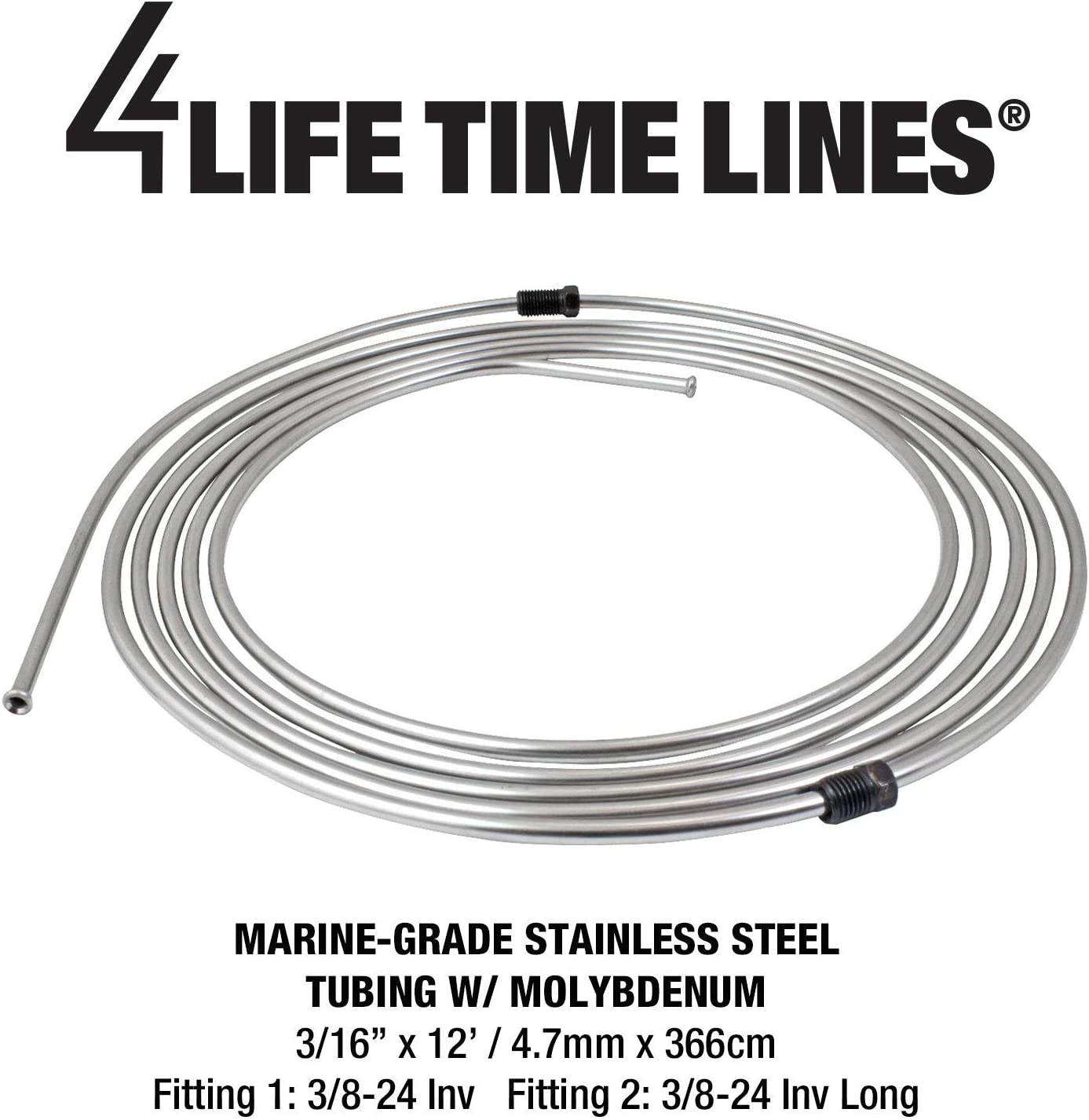 4LIFETIMELINES 3//16 Stainless Steel 12 ft Coil Flared /& Fitted