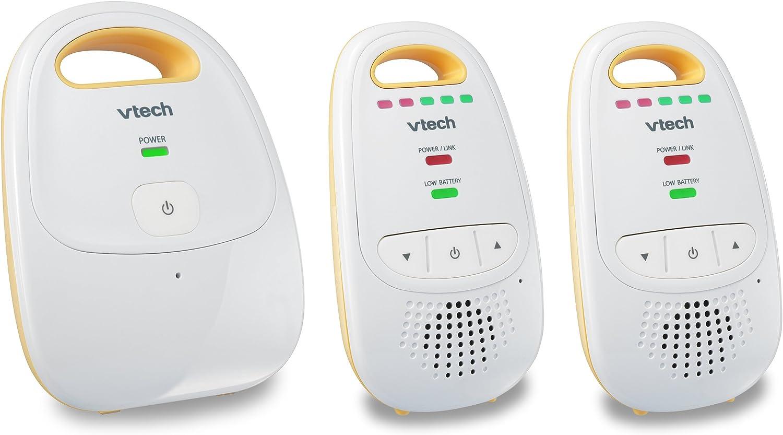 VTech Dm111-2 Audio Baby Monitor avec jusqu'à 1 000 pi de gamme, 5 Indicateur de niveau audio, Clip digitalisée Transmission et ceinture avec deux unités de parents 1 Surveiller avec 2 unités parents Jaune