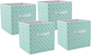 DII Foldable Fabric Storage Containers for Nurseries, Offices, Closets, Home Décor, Cube Organizers & Everyday Use, 11 x 11 x 11, Aqua Lattice-Set of 4, Small S/4, 4 Set