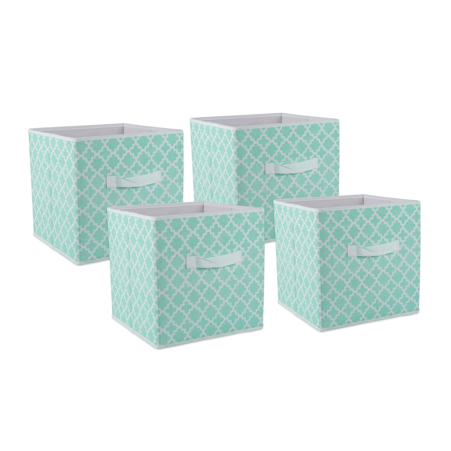 DII Fabric Storage Bins for Nursery, Offices, Home Organization, Containers are Made to Fit Standard Cube Organizers (11x11x11) Lattice Aqua - Set of 4