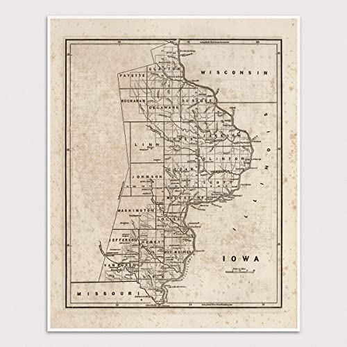 Old Iowa Map.Amazon Com Old Iowa Map Art Print 1842 Archival Reproduction